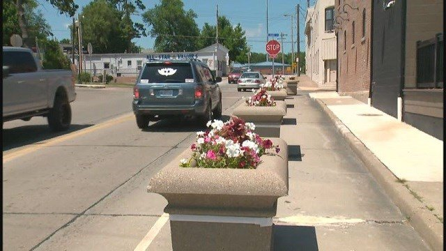 Concrete planters in Festus, Mo. are being removed due to traffic backups (Credit: KMOV).