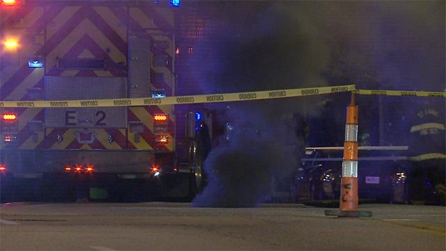 Crews responded after a manhole fire began Wednesday night at Market and 7th Street (Credit: KMOV)