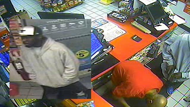 The suspect was seen on surveillance robbing a Circle K gas station in Creve Coeur (Credit: Creve Coeur Police Department)
