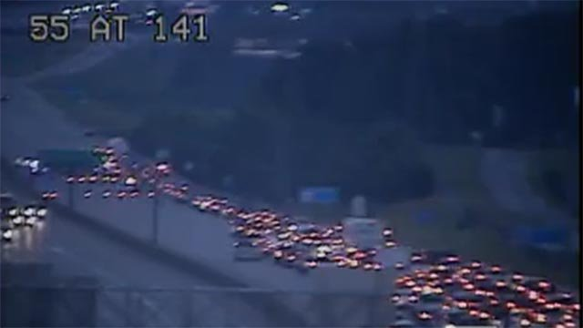 A crash caused traffic delays on NB I-55 near 141 Monday (Credit: MoDOT)