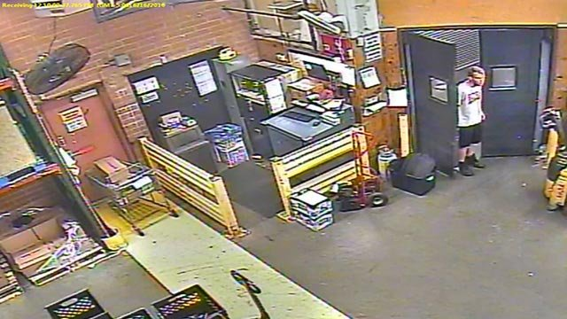 The suspect was seen entering a door that was not open to the public on June 16 (Credit: Chesterfield Police Department)