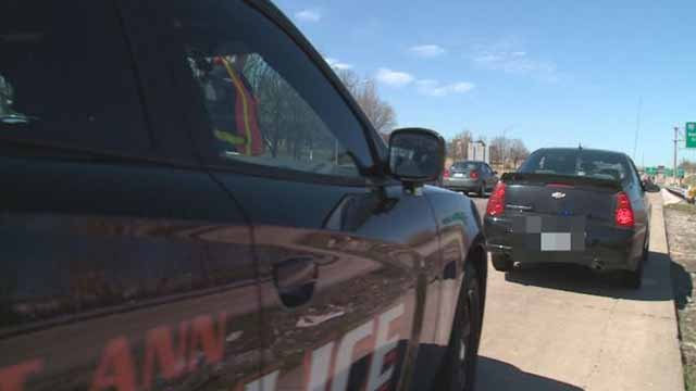 A St. Ann police officer making a traffic stop. Credit: KMOV