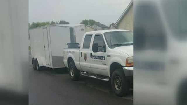 Police believe this trailer, which had lawn care equipment inside, was stolen from outside a Hometown Suites in O'Fallon, Ill. Credit: KMOV
