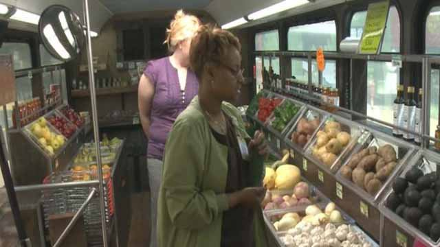 This former Metro bus delivers fresh food to food deserts in St. Louis. Credit: KMOV