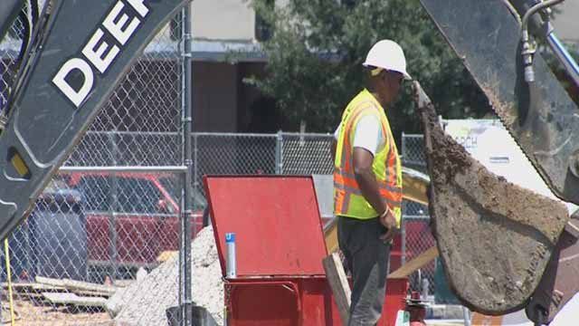 A construction worker doing work in the heat on June 22 in downtown St. Louis. Credit: KMOV