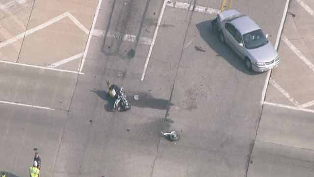A motorcyle and car were involved in a wreck on Frank Scott Parkway in Swansea on June 22. Credit: KMOV