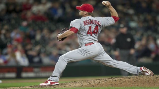 St. Louis Cardinals relief pitcher Trevor Rosenthal delivers a pitch during the ninth inning of a baseball game against the Seattle Mariners, Friday, June 24, 2016, in Seattle. The Mariners won 4-3. Rosenthal took the loss. (AP Photo/Stephen Brashear)