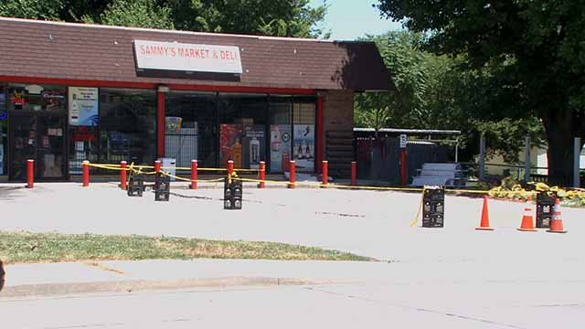 A man was shot as he left Sammy's Market in Belleville late in the night of June 26. Credit: KMOV