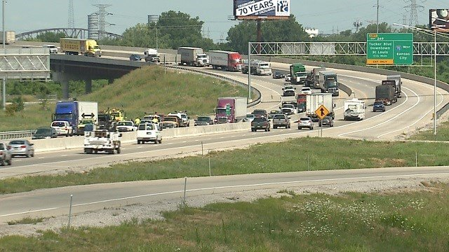 An accident closed lanes of I-70 in St. Clair County Tuesday (KMOV)