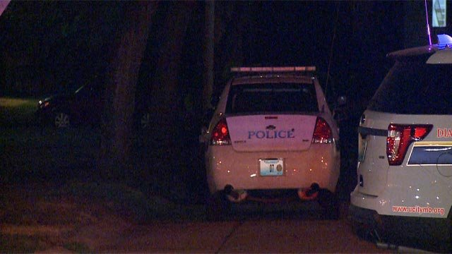 Police were outside an apartment building near Briscoe and Olive Tuesday (Credit: KMOV)