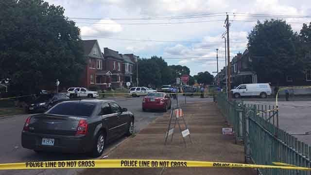 1 person was killed and another was wounded in a shooting near Farragut Elementary in north St. Louis Tuesday. Credit: KMOV