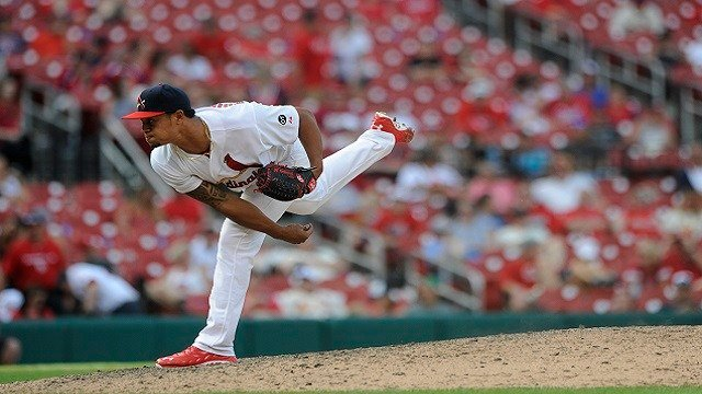 St. Louis Cardinals' Sam Tuivailala throws against the Pittsburgh Pirates in the thirteenth inning in a baseball game, Sunday, May 3, 2015, at Busch Stadium in St. Louis. (AP Photo/Bill Boyce)