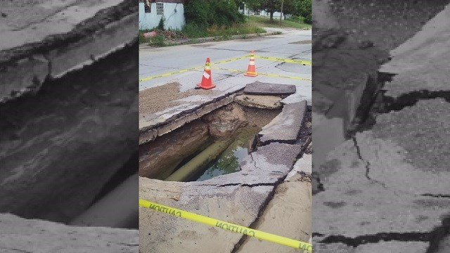 Water main break on Steven Jones Avenue in Wellston, Mo. that flooded Delores Bass' basement (Credit: KMOV).