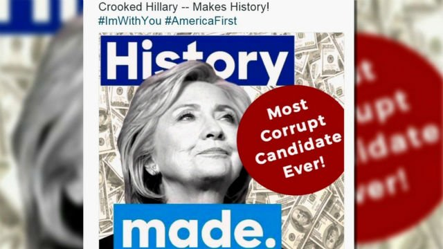 Donald Trump on Saturday deleted a tweet critical of Hillary Clinton after he came under fire for evoking anti-Semitic stereotypes with a graphic that included dollar bills and a six-pointed star. (Twitter/@realDonaldTrump)