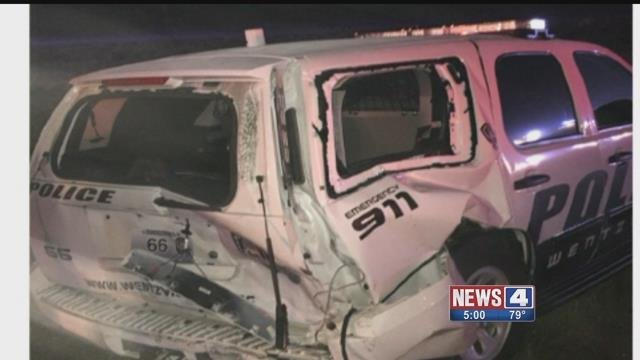A drunk driver hit a Wentzville police car on July 3, the police officer was not inside the car. Credit: KMOV