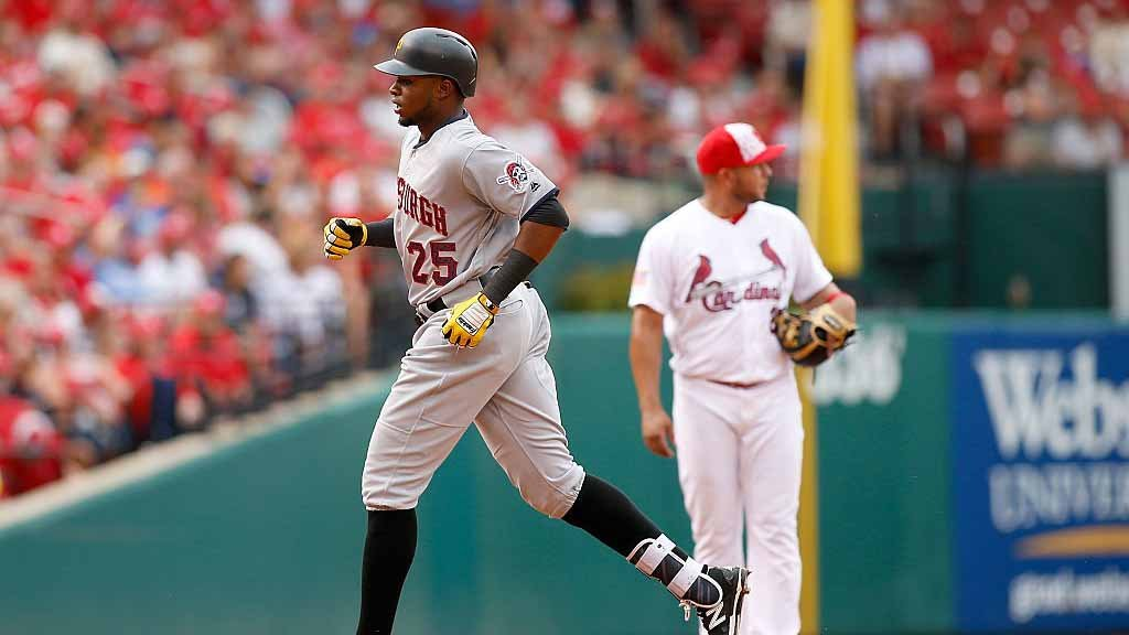 JULY 4: Gregory Polanco #25 of the Pittsburgh Pirates runs the bases after hitting a two-run home run during the sixth inning of a baseball game against the St. Louis Cardinals at Busch Stadium on July 4, 2016. Photo by Scott Kane/ Getty Images)