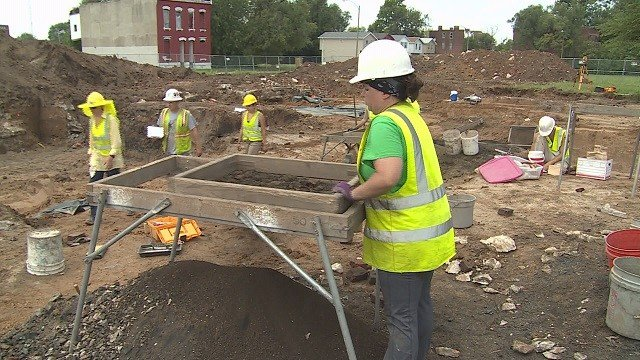 Archaeologists digging at future NGA site in north St. Louis (Credit: KMOV)