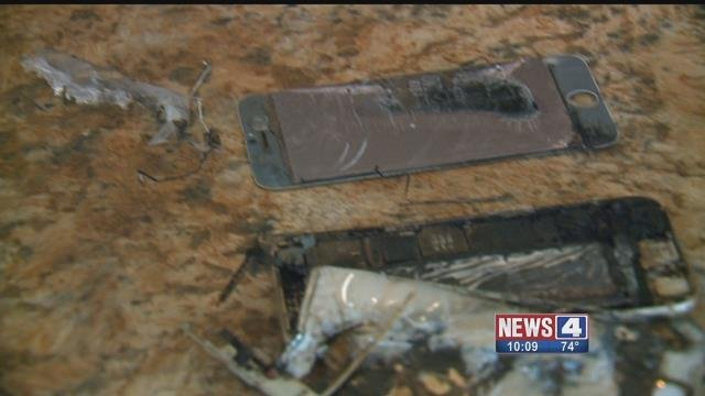 Ronnie Moore's iPhone 6 caught fire while in his pocket and burned him. Credit: KMOV