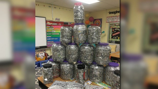 Some of the many tabs that were collected and donated in honor of Chase Elmendorf (Credit: KMOV).