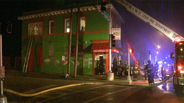 Firefighters on the scene of Moma Minnie's Market Friday (Credit: KMOV)