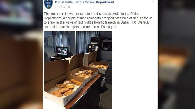Collinsville PD recieved donuts and other gifts as a sign of support. (Credit: Collinsville PD Facebook Page, KMOV).