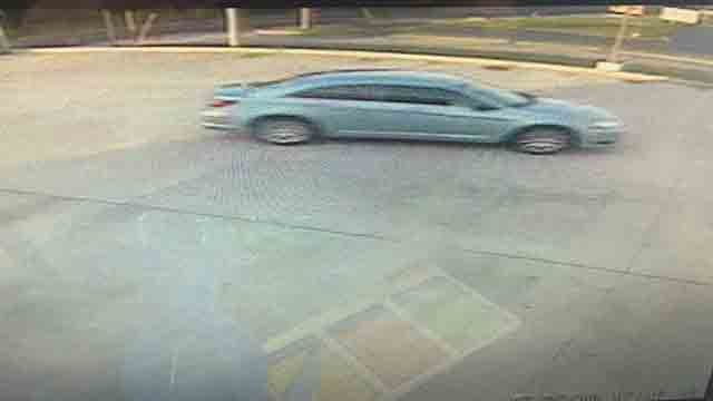 Alton police are searching for the suspects driving this vehicle after they allegedly robbed a Sprint store on Thursday.