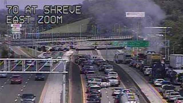 An accident has closed the express lanes of I-70 near Shreve Sunday afternoon. Credit: KMOV