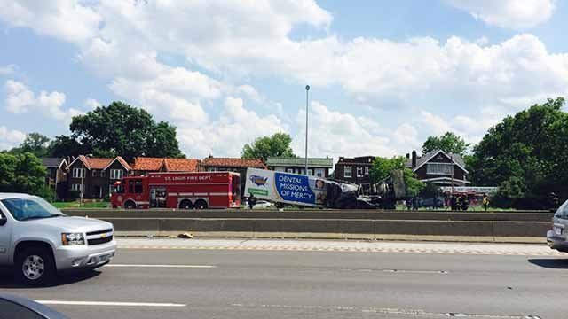 An accident involving a semi closed the express lanes of I-70 near Shreve on Sunday. Credit: KMOV
