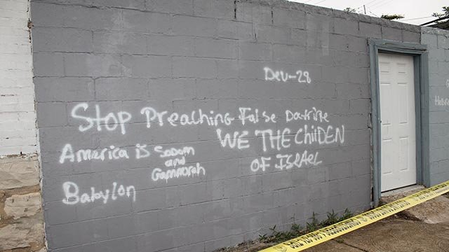 Graffiti on the Church of Christ building at 2701 Shenandoah (Credit: St. Louis Police Department)