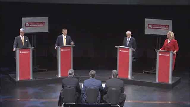 The four GOP candidates for Missouri Governor  debate on July 13. Credit: KMOV