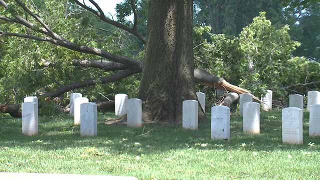 Damage at Jefferson Barracks Cemetery after a storm on July 13. Credit: KMOV