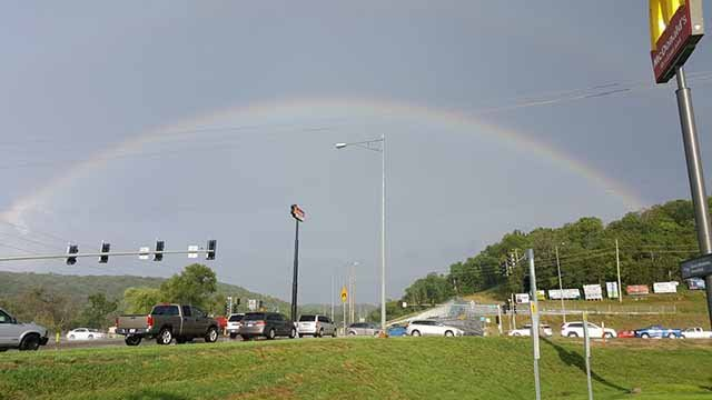 A rainbow appears over House Springs after a storm passed through on July 14. Credit: Chandler Casey