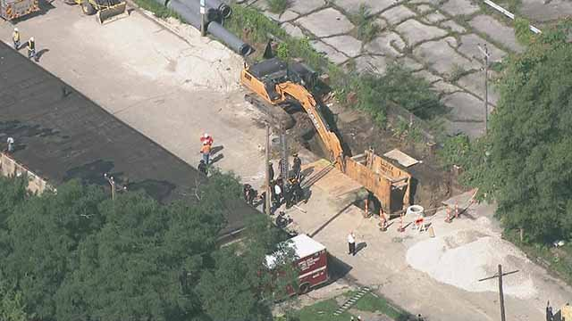 A person was rescued after being trapped in a in a hole or cavern in north St. Louis Friday morning. Credit: KMOV