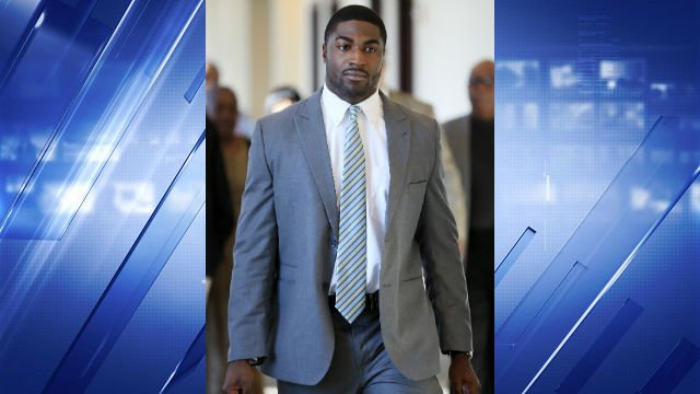 In this Nov. 3, 2014, file photo, former Vanderbilt football player Cory Batey arrives for jury selection in his rape trial in Nashville, Tenn.  (AP Photo/Mark Humphrey, File)