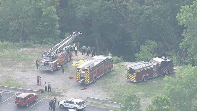 A teen fell into a ravine behind Oakville High School Monday afternoon. Credit: KMOV