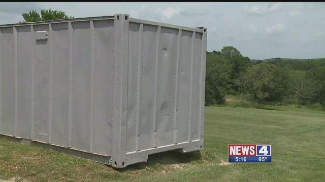 A Jeff Co resident bought this shipping container to stop thieves who have stolen from his home, but officials say it is against county code to have such a container on his land. Credit: KMOV