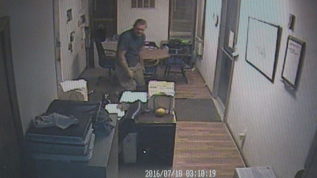 Suspect caught on camera sneaking around inside Pier St. Louis' construction trailer on July 18 and later stealing electronics (Credit: Pier St. Louis).