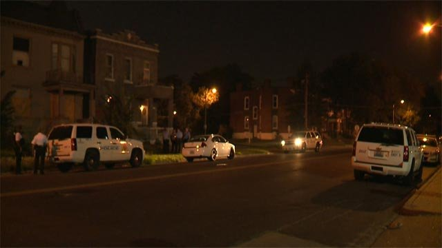 Police investigation underway after three men were shot in the 3900 block of St. Louis Tuesday (Credit: KMOV)