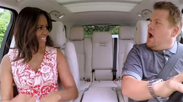 Michelle Obama & James Corden on Carpool Karaoke (Credit: The Late Late Show with James Corden)