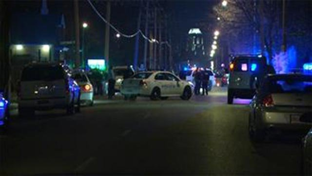 The scene following the fatal shooting of Isaac Holmes on Jan. 21, 2015 (Credit: KMOV)