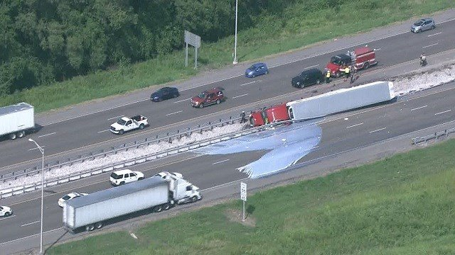 An overturned semi caused a major traffic back-up on I-64 Tuesday. (KMOV)