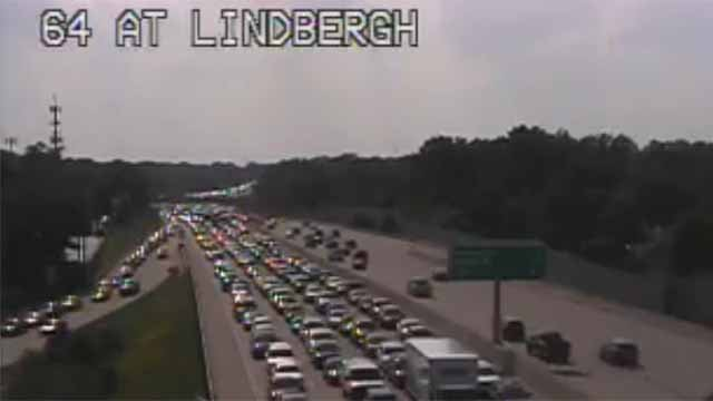 A multi-vehicle wreck has closed three lanes of EB I-64 near Lindbergh  Tuesday afternoon. Credit: MoDOT