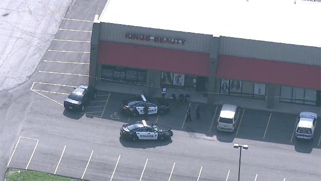 An elderly couple was shot at the Kings Beauty Supply Store in Bellefontaine Neighbors Tuesday (Credit: KMOV)