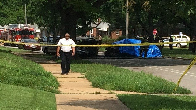 A chase ended in a fiery crash in north St. Louis (Eric Voss, KMOV)
