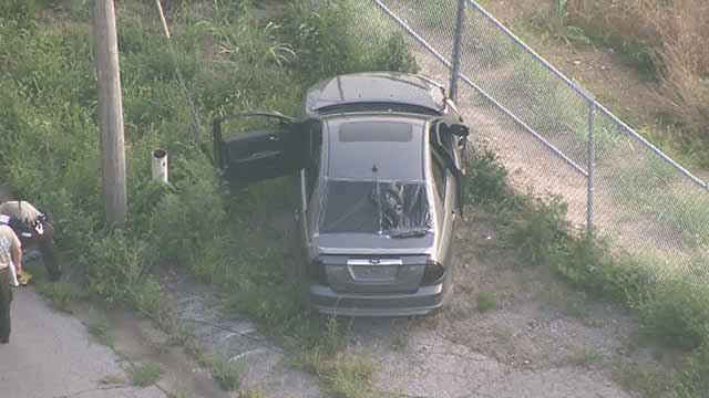 Police say a man was shot and killed in this car in Kinloch on July 21. Credit: KMOV