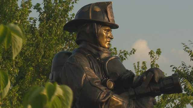 A memorial statue was unveiled for Maplewood firefighter Ryan Hummert, who was killed in the line of duty in 2008. Credit: KMOV