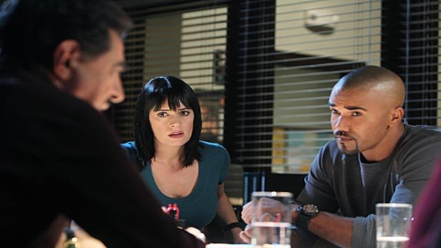 Joe Mantegna, Paget Brewster and Shemar Moore on Criminal Minds (Credit: CBS)