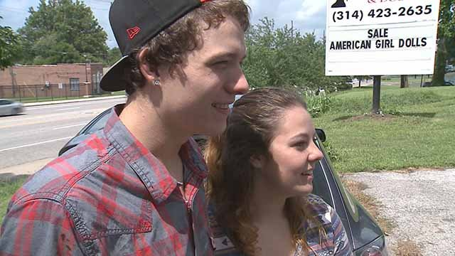 Jackson Lamb and his girlfriend Morgan Diamond found a wallet and thousands in cash on St. Charles Rock Road recently. They turned the money and wallet into police. Credit: KMOV