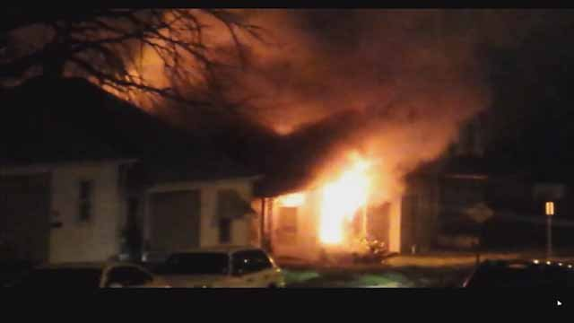 A house on Taft near Chippewa in South City was engulfed with flames on July 25. Credit: KMOV