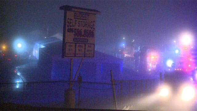 Firefighters were called to the Budget Self-Storage facility overnight (Credit: KMOV)